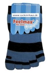 Toe Free® Kinderzehensocken jeansblau mit schwarzen Streifen